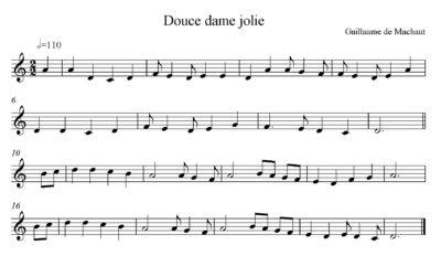 Noty písně Douce Dame Jolie/ středověká hudba
