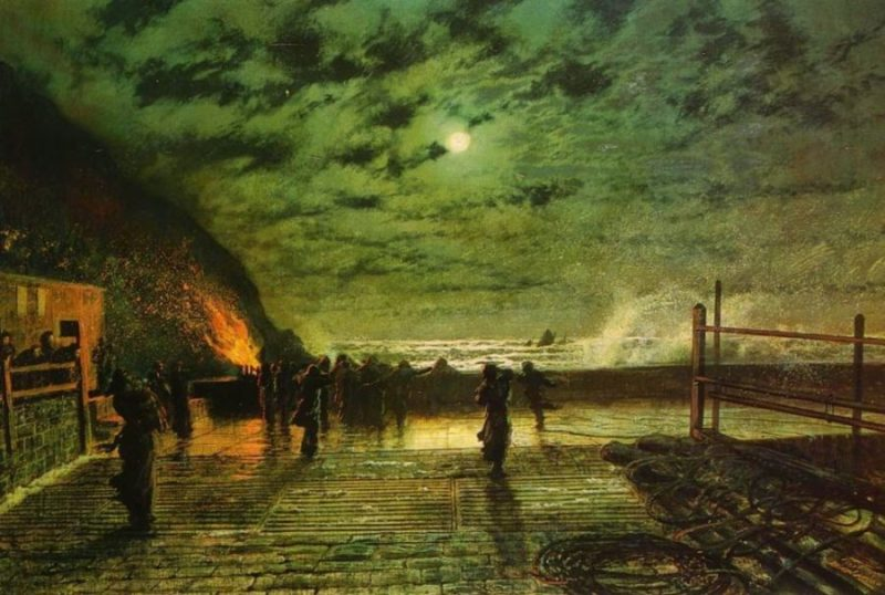 in-peril-the-harbour-flare-1879 atkinson grimshaw