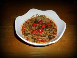soba nudle v shi-take omáčce / veganské recepty