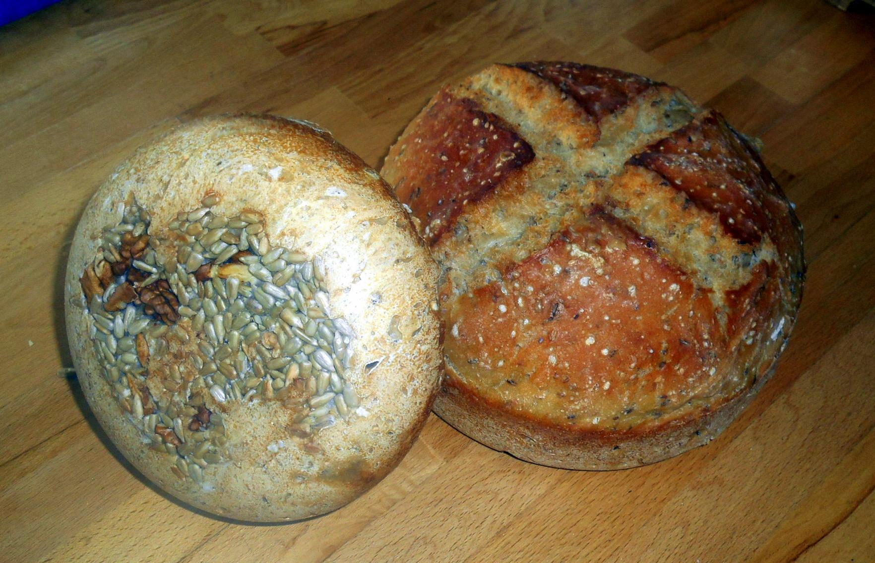 Slunečnicová semínka zespodu chleba